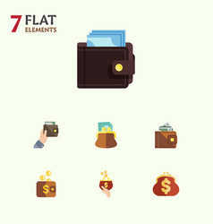 flat icon wallet set of billfold purse pouch and vector image vector image