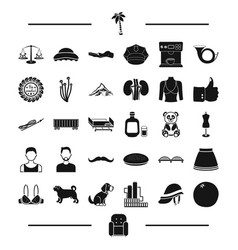 hair animal food and other web icon in black vector image