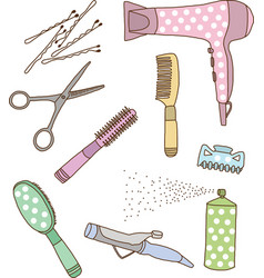 Hairdresser accessories vector