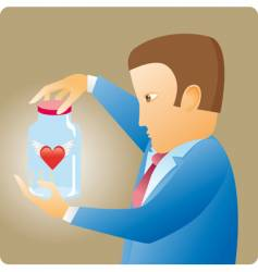 heart in bottle vector image vector image