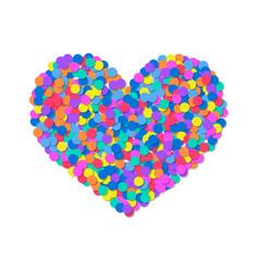 Heart of colored confetti romantic flat object vector