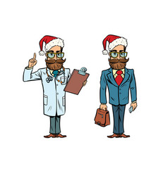 Hipster christmas doctor and businessman vector