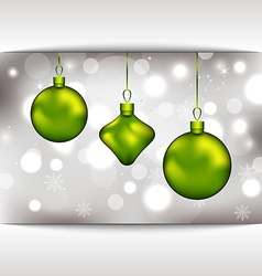 Holiday glowing invitation with Christmas balls vector image vector image