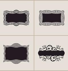 Label frames elegant border set floral banner vector