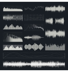 Music sound waves set isolated on a dark vector image vector image