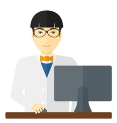 Pharmacist standing at counter vector