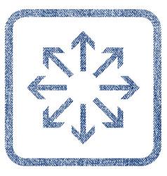 Radial arrows fabric textured icon vector