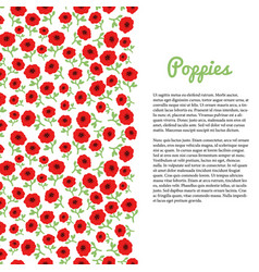 Red poppy flowers border template for flyer vector