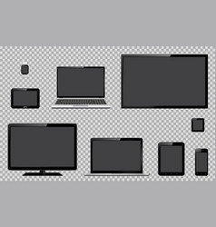 set of realistic tv computer monitor laptops vector image vector image