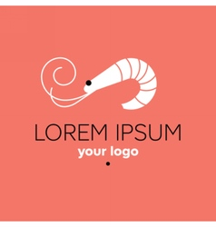 Shrimp logo template seafood restaurant sign vector