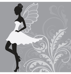 Silhouette of beautiful fairy vector image
