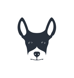 Simple dog head on white background vector