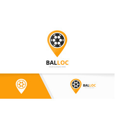 Soccer and map pointer logo combination vector