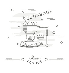 Template menu cookbook recipes fondue vector