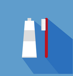 toothpaste with toothbrush flat design vector image