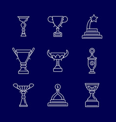 trophy cup thin line icons linear podium award vector image vector image