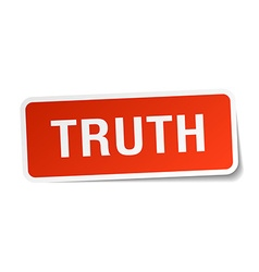 Truth red square sticker isolated on white vector