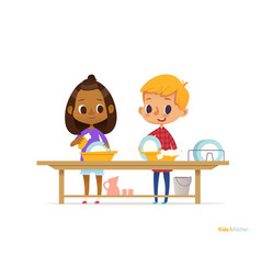 Two happy multiracial kids washing dishes isolated vector