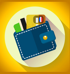 wallet and money icon wallet with cards vector image vector image