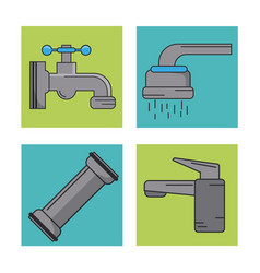 White background with frames of water faucets and vector