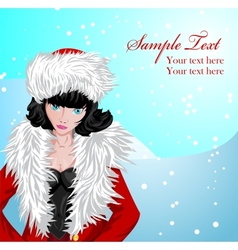 Winter background with girl in Santas costume vector image vector image