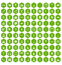 100 beauty and makeup icons hexagon green vector