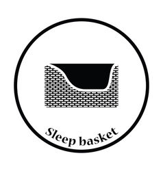 Dogs sleep basket icon vector image