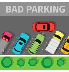 Bad parking top view vector