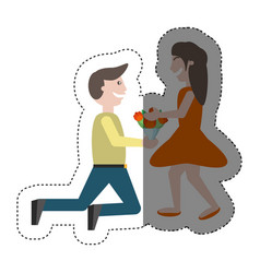 Couple romance- man kneel give flowers girl shadow vector