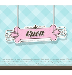 Open sign hanging on pink badge with blue vector