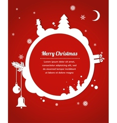 Christmas card with snowman present and christmas vector