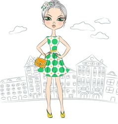 Beautiful fashion girl top model in the city vector