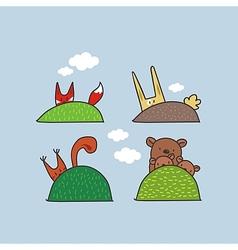 Cute Animals Hiding vector image