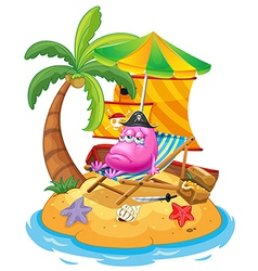 A pink monster in the island vector image
