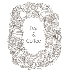Coffee and tea sketch doodles pattern vector