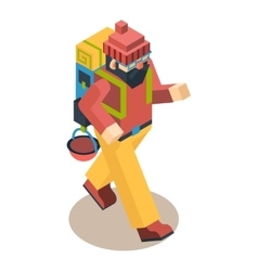 Backpacker traveler polygonal character walk vector