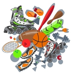 Sporting goods basketball ball sneakers racket vector
