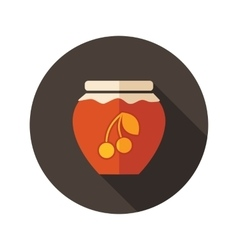 Cherry jam jar flat icon with long shadow vector