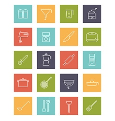 Cooking appliances line icons collection vector
