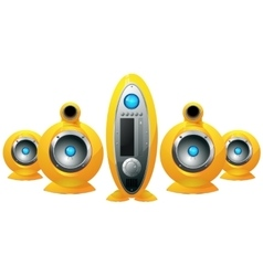 Hi-fi yellow speakers system vector