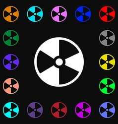Radioactive icon sign lots of colorful symbols for vector