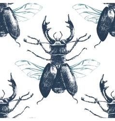 Seamless pattern with deer beetle vector