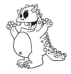 Simple black and white monster cartoon vector