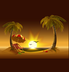 Evening beach sea sun palm trees and sand vector