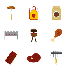 Bbq party icons set flat style vector