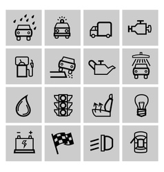 black auto icons set vector image vector image