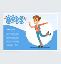 Boy rolling on roller blades boys banner for vector