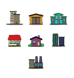 Buildings color set vector
