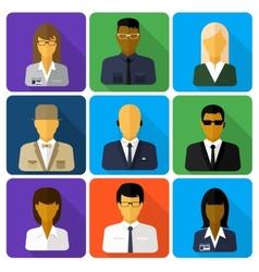 Business set of stylish avatars woman and man vector