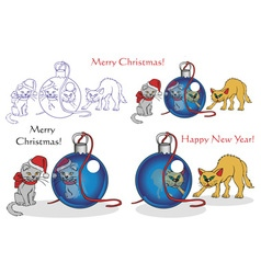 Cats and christmas vector